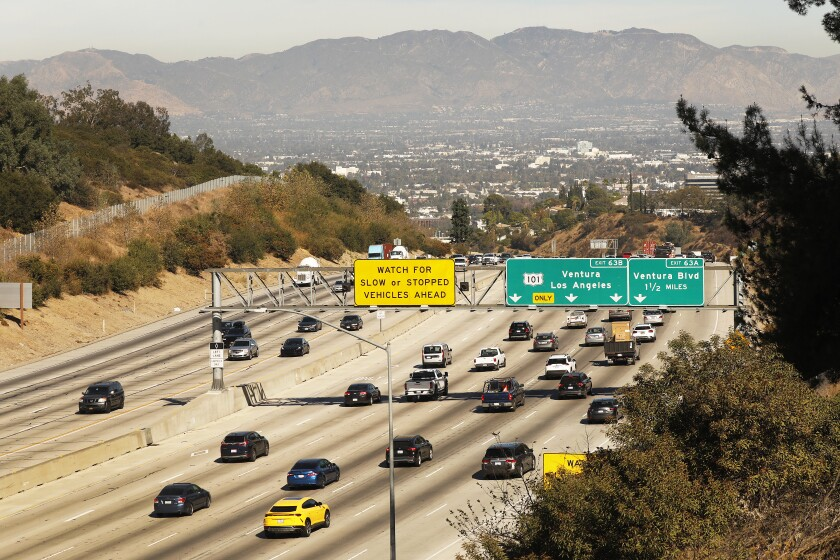 Traffic on the northbound 405 Freeway heading into the San Fernando Valley was light in November.