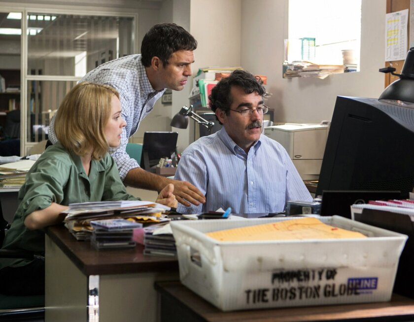 """FILE - This photo provided by courtesy of Open Road Films shows, Rachel McAdams, from left, as Sacha Pfeiffer, Mark Ruffalo as Michael Rezendes and Brian d'Arcy James as Matt Carroll, in a scene from the film, """"Spotlight."""" Oscar contenders """"Spotlight"""" and """"The Big Short"""" won the top awards for scre"""