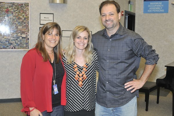 Del Mar Hills Academy Principal Julie Lerner, Parent Coordinator and PTA Reflections chair Jennifer Hill, Art teacher Brian Patterson