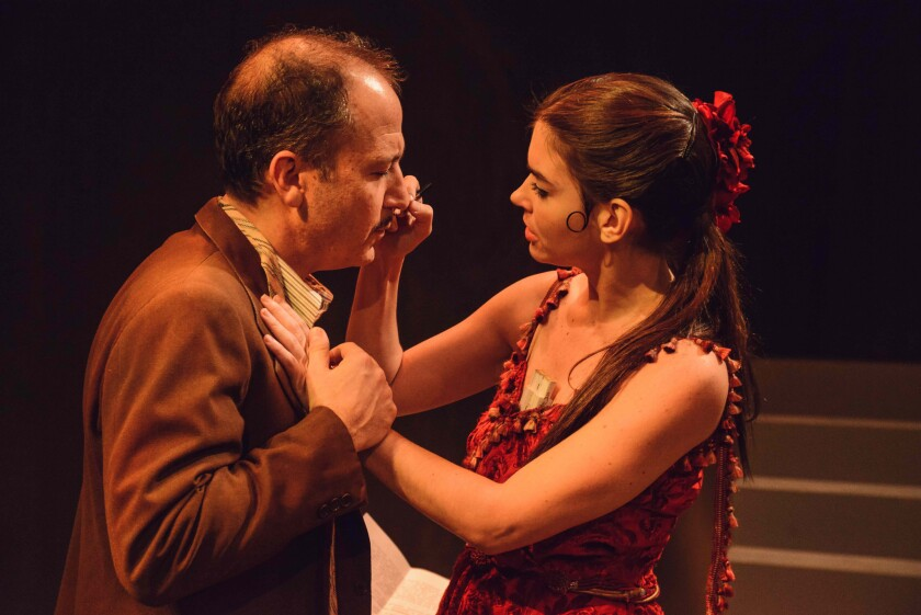 """Alejandro Furth and Eloísa Maturén play a pair of vaudeville performers forced to entertain Gen. Francisco Franco's troops during the Spanish Civil War in the Hudson Mainstage Theatre production of """"Ay, Carmela!,"""" which features a set by Frank Gehry and compositions by Gustavo Dudamel."""