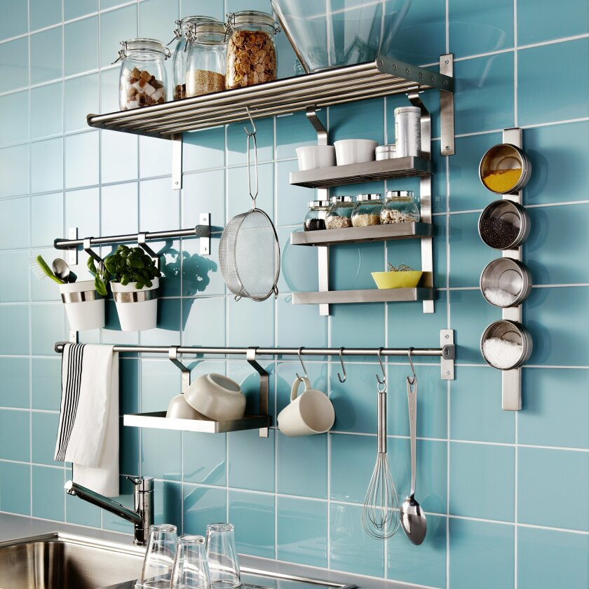 Ikea's Grundtal kitchen organizer system keeps spices and cooking utensils in plain sight.