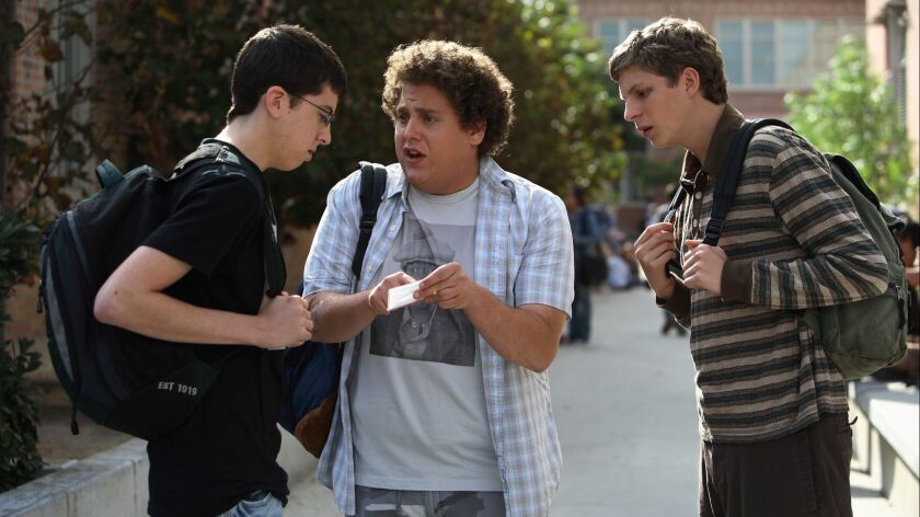 "Christopher Mintz-Plasse, left, Hill and Michael Cera in a scene from ""Superbad."""