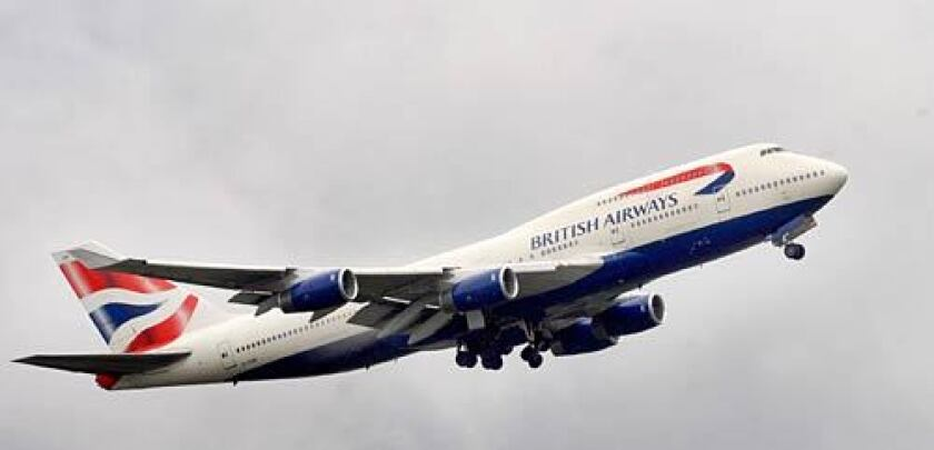 A British Airways plane making its ascent.