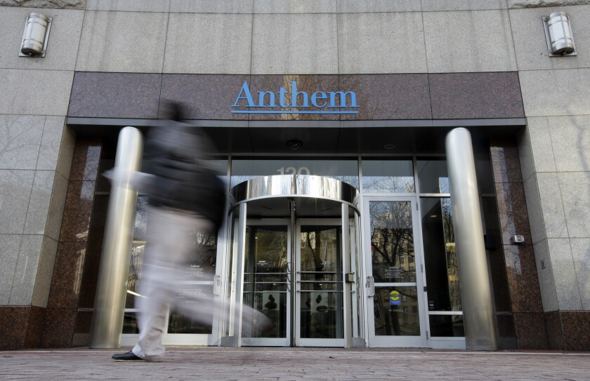 Health insurer Anthem said Wednesday that hackers have breached its system. Above, Anthem headquarters in Indianapolis.