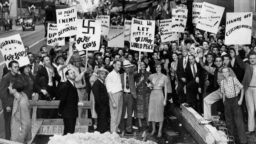 Anti-Nazi demonstrators in front of the German Consulate in Los Angeles on Sep. 17, 1938.