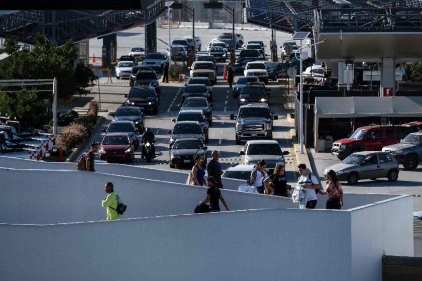 Travelers cross into Mexico at the El Chaparral Port of Entry in Tijuana.