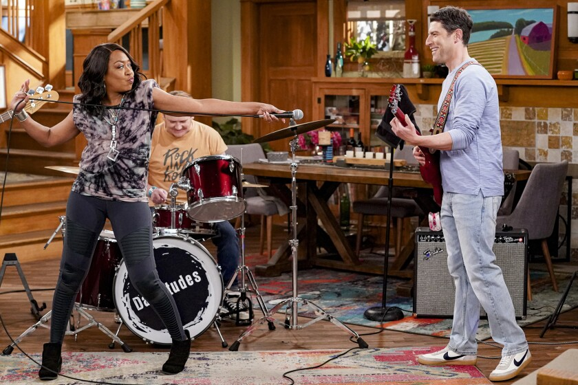 """Tichina Arnold and Max Greenfield in """"The Neighborhood"""" on CBS."""