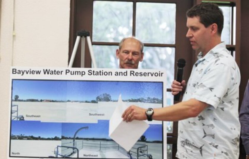 Dirk Smith with the city's Public Utilities Department explains a plan to install solar panels at Bayview Reservoir, just north of Kate Sessions Park. Pat Sherman photos