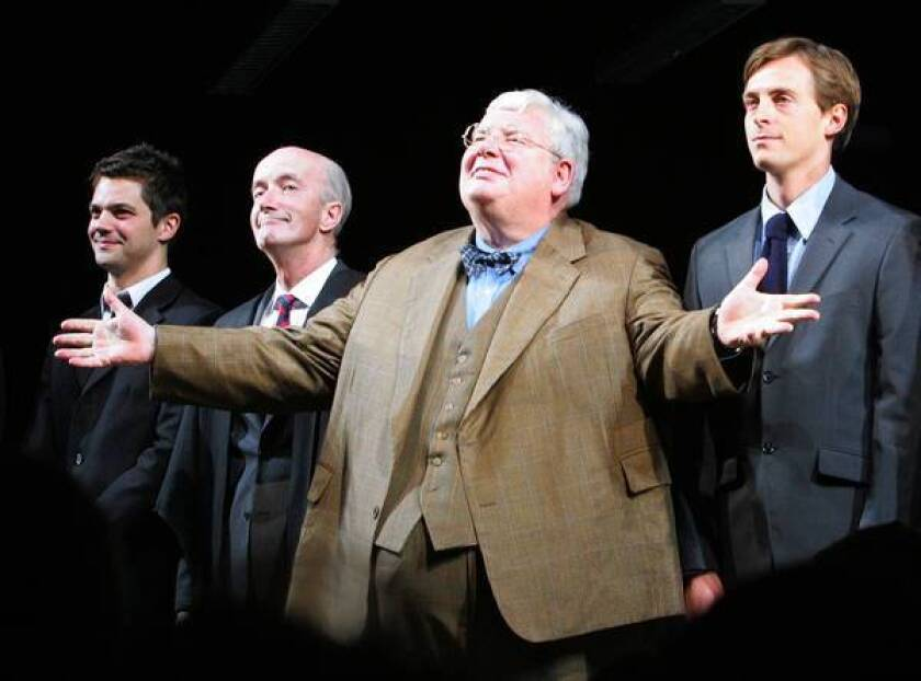 """James Corden, left, Clive Merrison, Richard Griffiths and Stephen Campbell Moore take the curtain call in 2006 at the opening night of the play """"The History Boys"""" on Broadway. Griffiths won a Tony for his performance."""