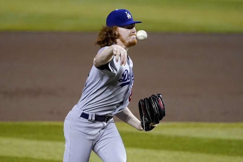 Dodgers starting pitcher Dustin May.