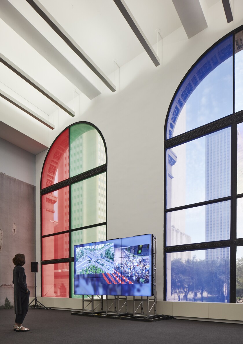 "An installation view of Clemens Von Wedemeyer's ""Transformation Scenario"" at the Chicago Architecture Biennial"