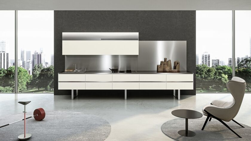 Aran Cucine's long wall door on the Sipario kitchen is a sleek, stylish show stopper. Photo Courtes