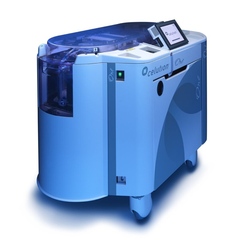 The Celution One machine, which extracts stem cells from a patient's fat, will be used by Cytori Therapeutics in a European trial.