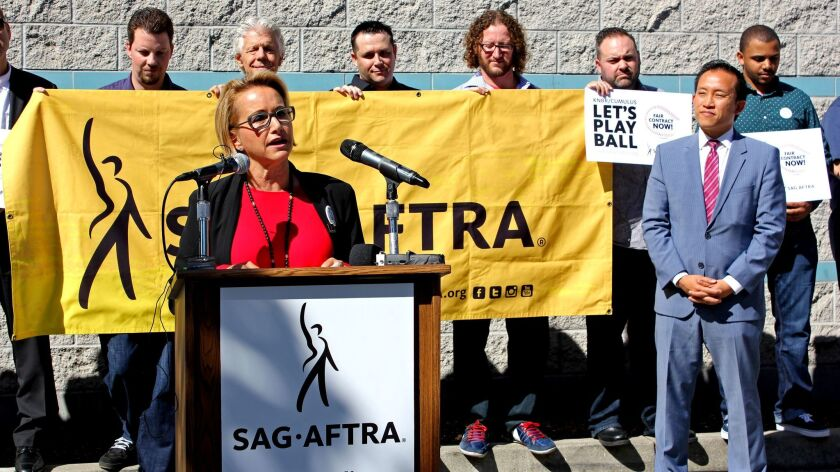 Gabrielle Carteris, president of SAG-AFTRA, speaks during a fair wage rally for KNBR employees in San Francisco in July 2016.