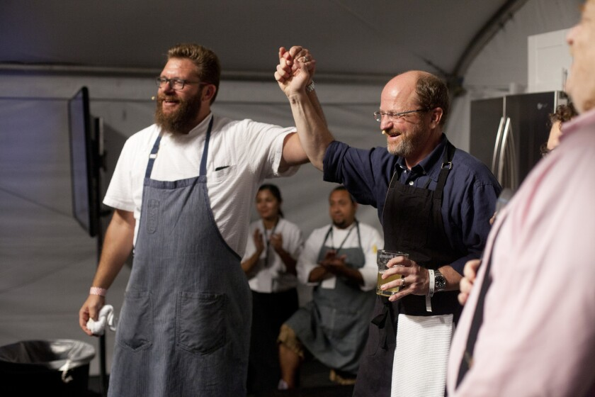Michael Cimarusti, left, the gracious winner, and the still-happy loser.