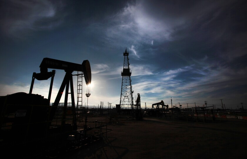An oil drilling operation in Kern County.