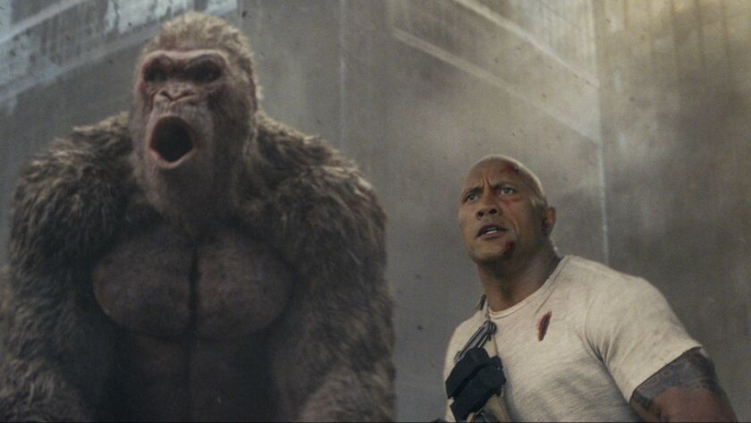 """The most electrifying man in jungle-themed action adventure entertainment — Dwayne Johnson — scored a No. 1 opening with """"Rampage."""""""