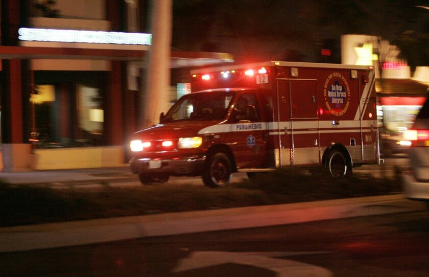 An ambulance heads to an emergency in San Diego. U-T file photo