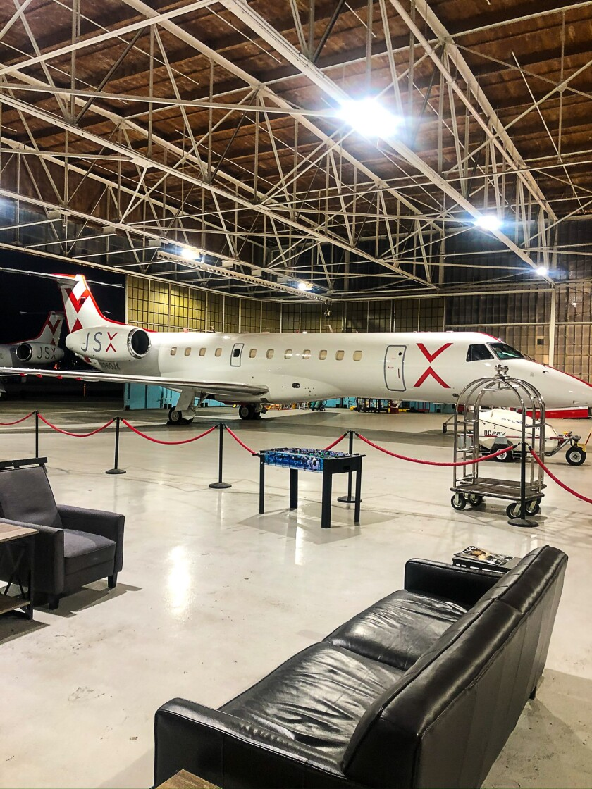 Your jet is waiting. The lounge at JSX is right next to the plane at the private hangar at Hollywood Burbank Airport.