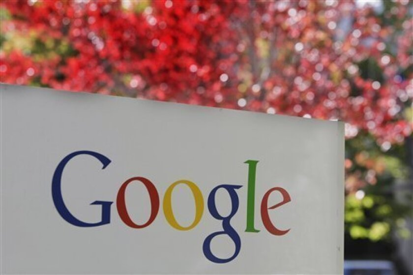 FILE - In this Nov. 10, 2010 file photo, the company logo is displayed is at Google headquarters in Mountain View, Calif. Search engine giant Google Inc. is making Kansas City, Kan., the first place to get its new ultra-fast broadband network, the company announced Wednesday, March 30, 2011. (AP Ph