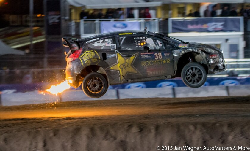 Brian Deegan of Chip Ganassi Racing launches over the jump
