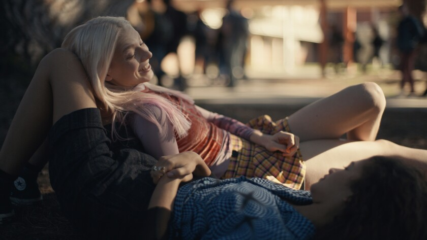 "(L-R)- Hunter Schafer and Zendaya in a scene from ""Euphoria."" Credit: HBO"