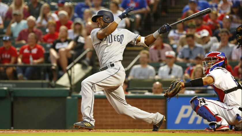 Manuel Margot hits a home run against the Texas Rangers on Monday.