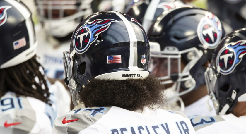 A view of Tennessee Titans' helmets