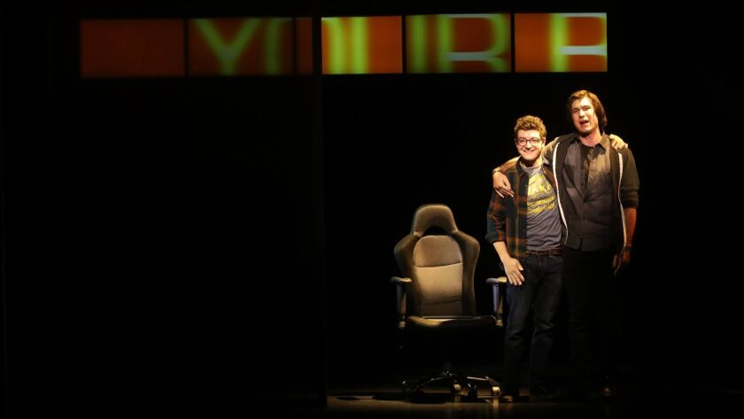 "Jared Goldsmith, left, and Marrick Smith perform in, ""Dear Evan Hansen."""