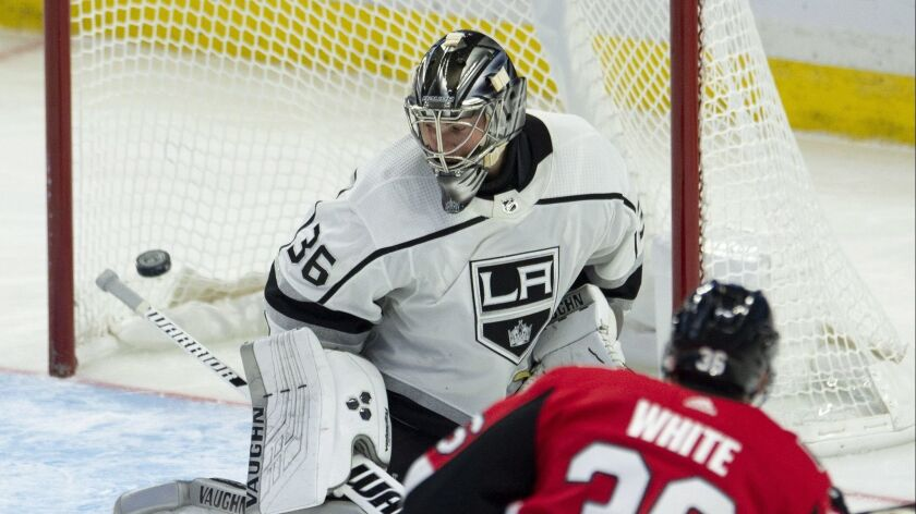 Ottawa Senators centre Colin White fires (36) the puck past Los Angeles Kings goaltender Jack Campbe