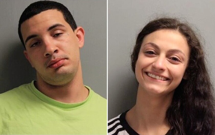 "Miguel Glorioso, 20, and Jamie Lee Coutee, 19, were arrested Wednesday, July 12, 2018, in Alexandria, La., and charged with obscenity after, police say, ""a commotion was heard in a fifth floor stairwell,"" and they were caught having sex at the Rapides Parish Courthouse."