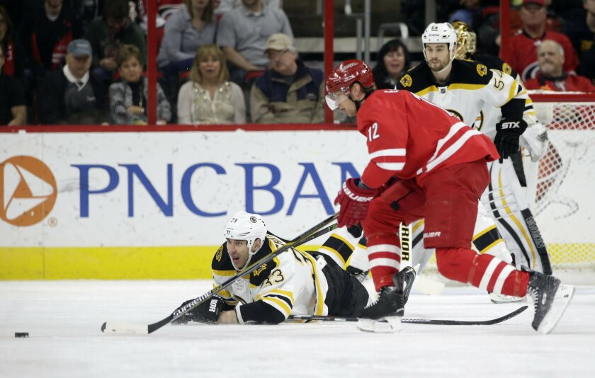 Boston Bruins' Zdeno Chara (33), of Slovakia, falls to the ice chasing the puck with Carolina Hurricanes' Eric Staal (12) during the first period of an NHL hockey game in Raleigh, N.C., Friday, Feb. 26, 2016. (AP Photo/Gerry Broome)
