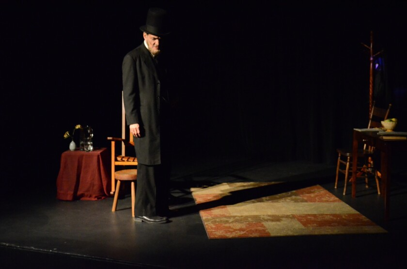 """Ed Trotta as """"Abraham Lincoln in Two Miles a Penny"""" at the Ruby Theater."""