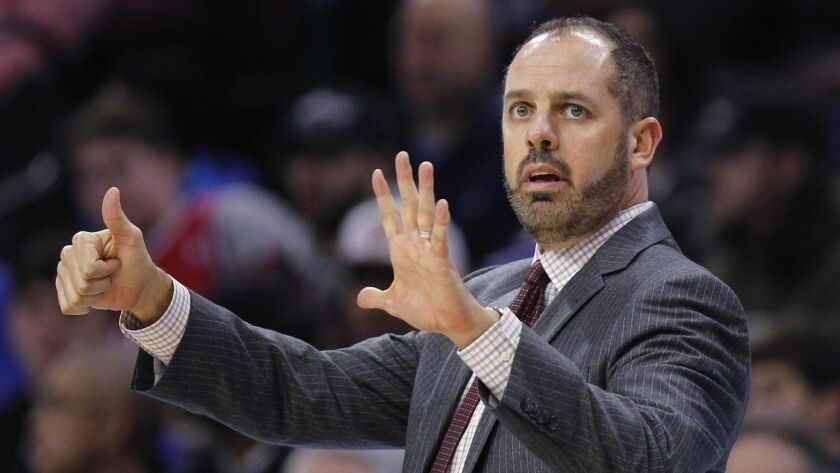FILE - In this Nov. 25, 2017, file photo, Orlando Magic coach Frank Vogel signals from the sideline