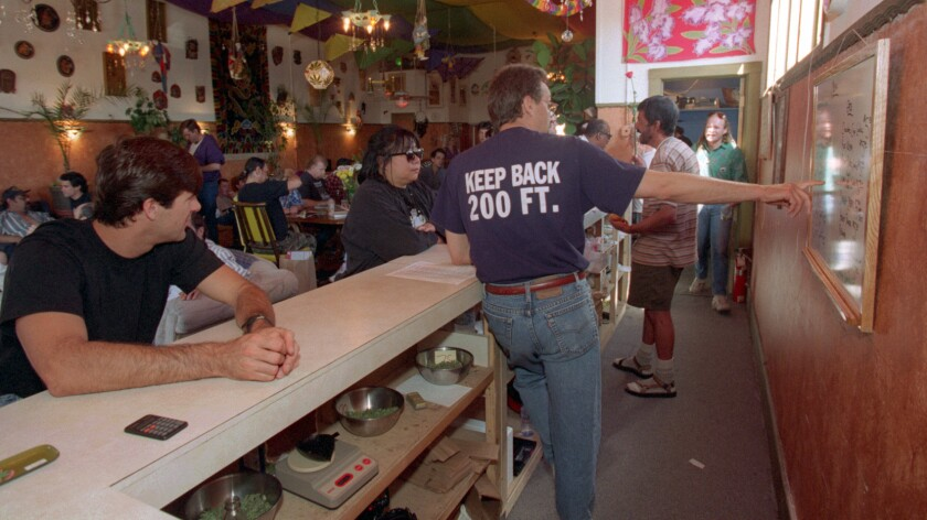 The counter at San Francisco's Cannibus Buyers Club in 1995.