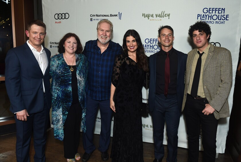 Jeff Skowron, left, Kimberly Jürgen, Harry Groener, Idina Menzel, Will Brittain and Eli Gelb