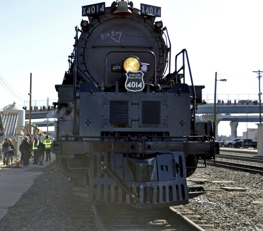 The Big Boy No. 4014 rolls out of a Union Pacific restoration shop at the Cheyenne Depot Museum in C
