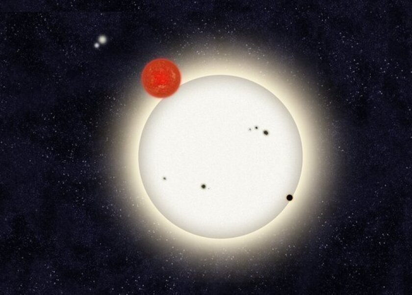 """A """"family portrait"""" of the newly discovered planet PH1, with its four suns. Citizen scientists found the planet by poring through Kepler telescope data."""