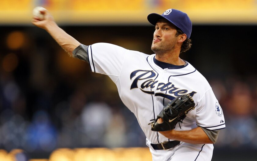 Padres' Huston Street pitches the 9th inning against Arizona  on Tuesday, April 11, 2012.