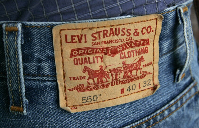 Levi Strauss & Co. CEO Chip Bergh said in an interview this week that 50% of the water used by a pair of jeans came from the manufacturing process, the rest from laundering over the life of the jean. Above, a pair of Levi's 550 jeans.