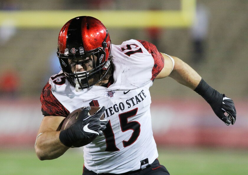 San Diego State Aztecs fullback Nick Bawden runs the ball against the South Alabama Jaguars.