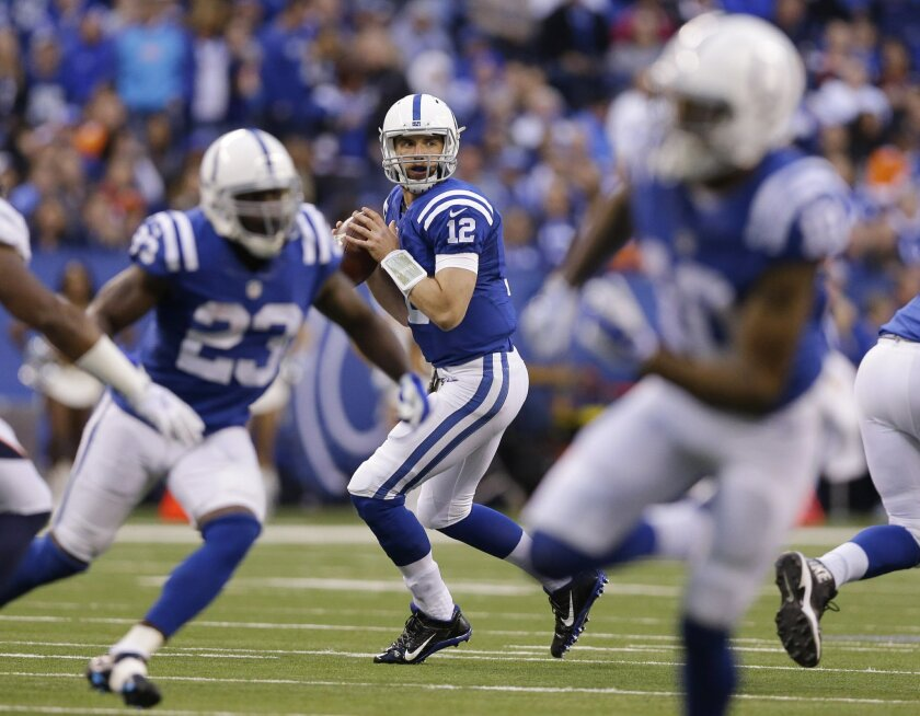 Indianapolis Colts quarterback Andrew Luck (12) looks to throw during the first half of an NFL football game against the Denver Broncos, Sunday, Nov. 8, 2015, Indianapolis. (AP Photo/Michael Conroy)