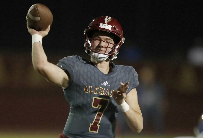 Alemany quarterback Miller Moss is leaving for Mater Dei for his senior year.