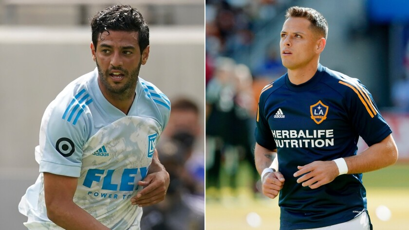 """Carlos Vela, left, and Javier """"Chicharito"""" Hernandez were named to the MLS All-Star game roster."""