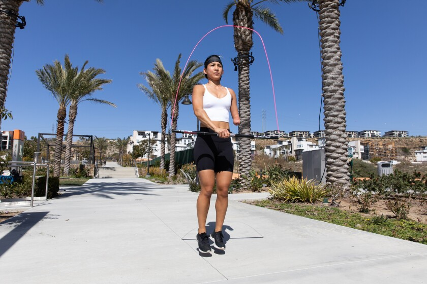 The Rx Mono Rope is demonstrated by athlete Katie Walker.