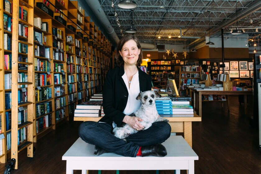 Ann Patchett at Nashville's Parnassus Books, where Sparky is one of the canine helpers.