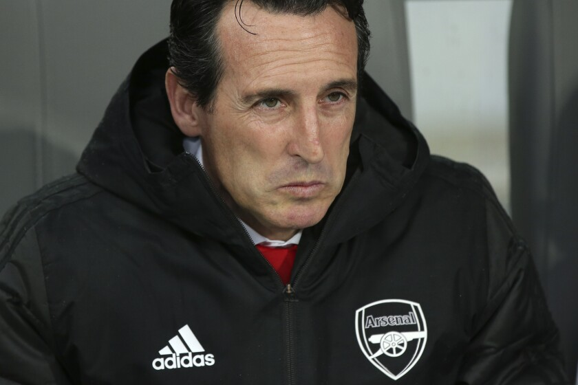 Arsenal manager Unai Emery during the Europa League soccer match against Vitoria on Nov. 6.