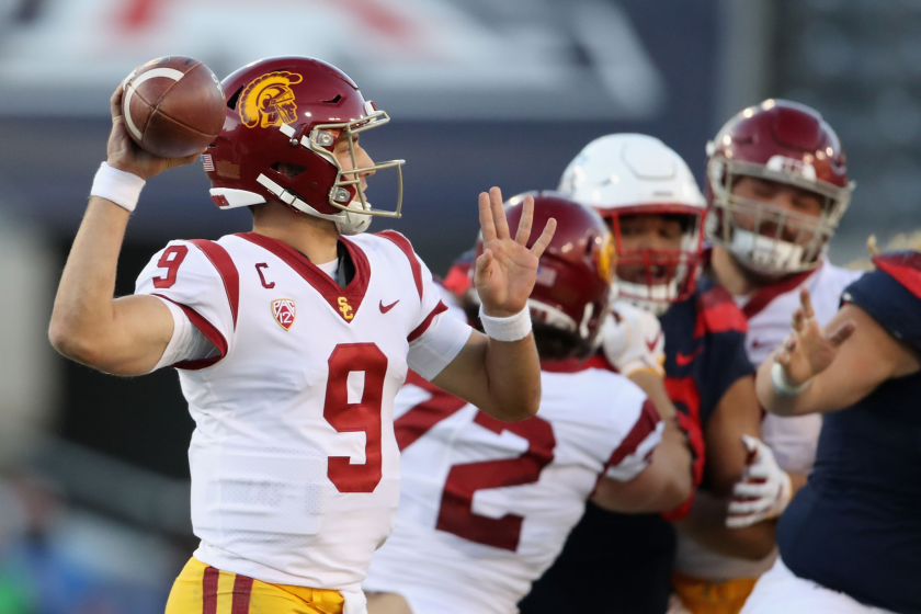 USC quarterback Kedon Slovis throws a pass during the second half against Arizona on Nov. 14, 2020, in Tucson, Arizona.