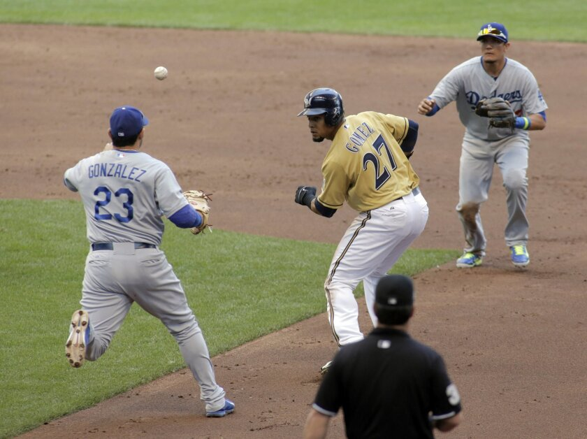 Milwaukee Brewers' Carlos Gomez (27) is caught in a rundown by Los Angeles Dodgers first baseman Adrian Gonzalez, left, and shortstop Miguel Rojas during the third inning of a baseball game Sunday, Aug. 10, 2014, in Milwaukee. (AP Photo/Darren Hauck)