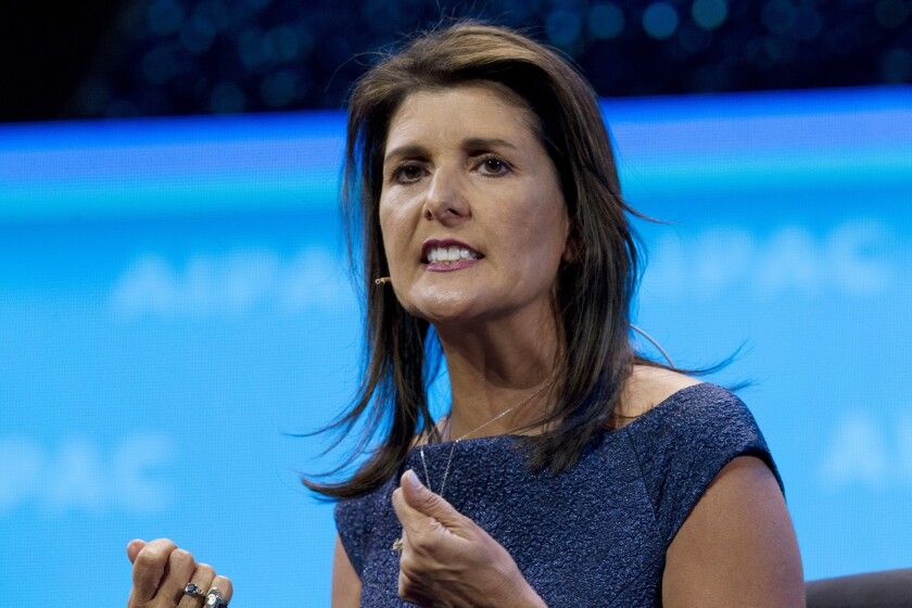 Haley speaks at a policy conference